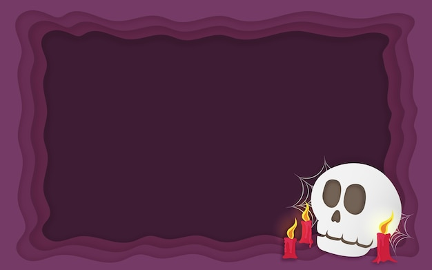 Halloween scary skull with melting candles backdrop paper art style