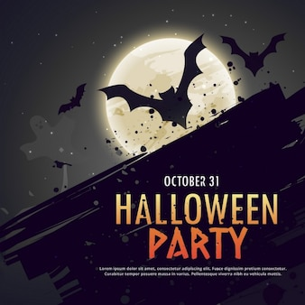 Halloween scene with bats on a full moon