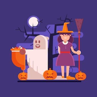 Сцены хэллоуина с привидением и ведьмой