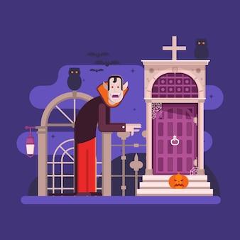 Сцены хэллоуина со старым домом-призраком, призраком и ведьмой