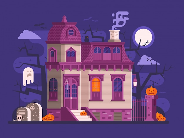 Halloween scenes with old ghost house