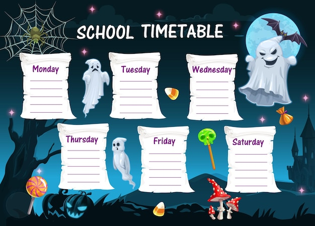 Halloween school timetable with ghosts and candy