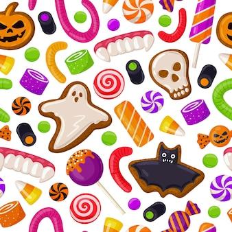 ハロウィーンのシームレスな背景休日のお菓子ロリポップとクッキーのベクトルパターン