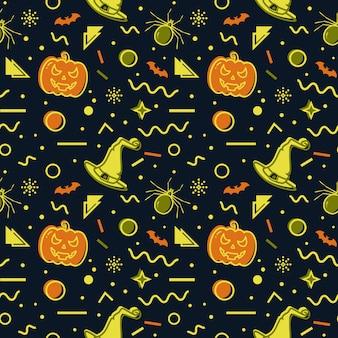 Halloween seamless background. memphis pattern.