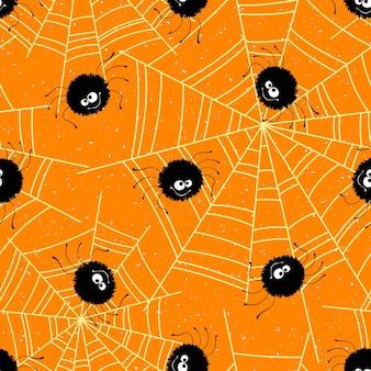 Хэллоуин бесшовный фон с пауками и паутиной