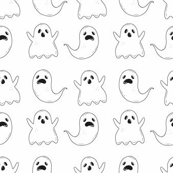 漫画の落書きスタイルの不気味な幽霊とハロウィーンのシームレスな黒と白のパターン