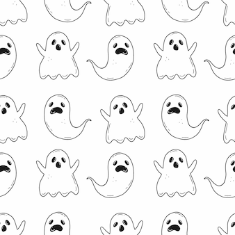 Halloween seamless black and white pattern with creepy ghosts in cartoon doodle style