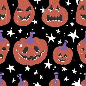 Хэллоуин бесшовные каракули шаблон.