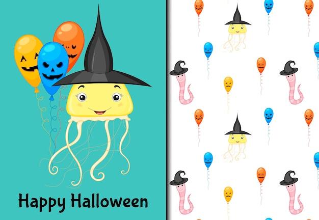 Хэллоуин бесшовные модели и праздничная открытка. мультяшный стиль. векторная иллюстрация.