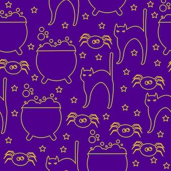 ハロウィーンのシームレスなパターンの背景。紫色のカバーで隔離の抽象的なハロウィーンのスケッチ猫、クモ、鍋。デザインカード、招待状、バナー、メニュー、アルバムなどの手作りハロウィーンパーティーパターン。
