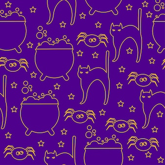 Halloween seamless pattern background. abstract halloween sketch cat, spider and pot isolated on purple cover. handmade halloween party pattern for design card, invitation,  banner, menu, album etc.