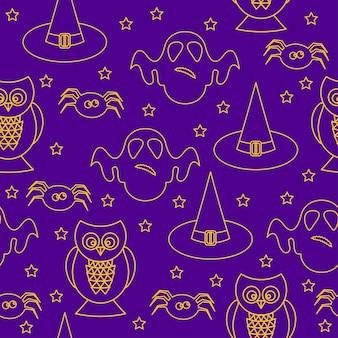 ハロウィーンのシームレスなパターンの背景。紫色のカバーで隔離の抽象的なハロウィーンのスケッチ要素。デザインカード、招待状、ポスター、バナー、メニュー、アルバムなどの手作りハロウィーンパーティーパターン。