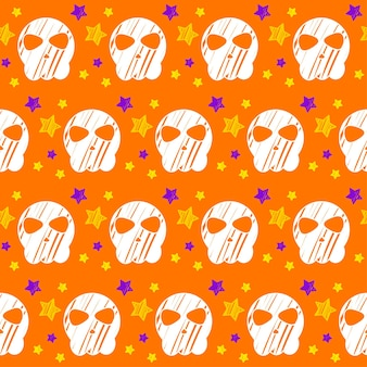 ハロウィーンのシームレスなパターンの背景。紫色のカバーで隔離の抽象的なハロウィーンのスケッチ要素。デザインカード、招待状、ポスター、バナー、メニュー、ノート、アルバムなどの手作りパターン。