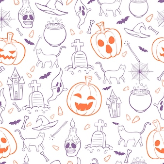 Halloween seamless pattern background doodles style
