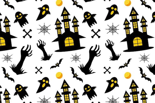 할로윈 원활한 패턴 배경 속임수 또는 공포 소름 끼치는 그림 치료