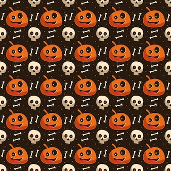 Halloween seamless pattern background wallpaper with pumpkin skull and bone skeleton element