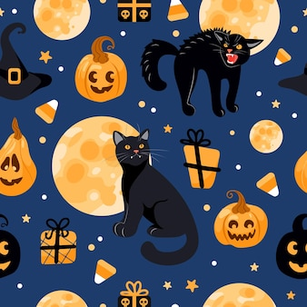 Halloween seamless pattern black cat, moon, witch hat, jack lantern, candy. on a blue background. bright illustration in cartoon style. for wallpaper, printing on fabric, wrapping, background.