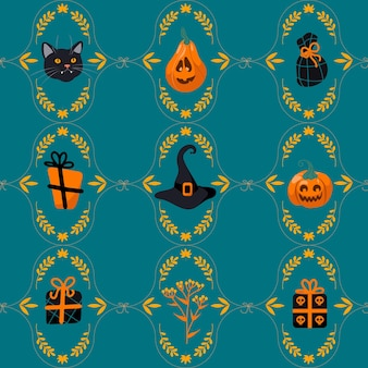 Halloween seamless pattern black cat, witch hat, jack lantern, gifts, candy. on a green background. bright illustration cartoon style. for nursery, wallpaper, printing on fabric, wrapping, background.