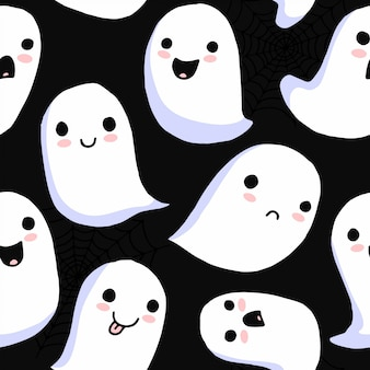 Halloween seamless pattern. cartoon cute scary ghosts. spooky characters