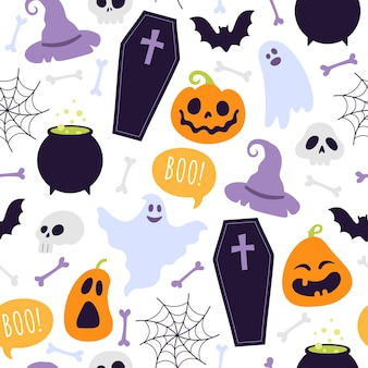 Halloween seamless pattern. cartoon scary ghosts, orange pumpkins, bones, witch hat, coffin and skulls. autumn spooky holiday vector print
