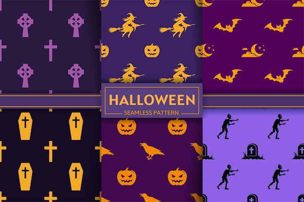 Halloween seamless pattern collection with witch, pumpkin, cross, bat, zombie, raven silhouettes