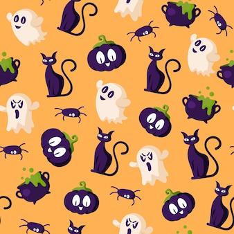 ハロウィーンのシームレスなパターン-不気味なカボチャのランタン、ゴースト、黒猫、大釜、クモ