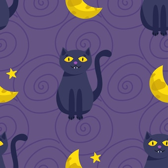 Halloween seamless pattern. cute black cat and the moon. vector illustration