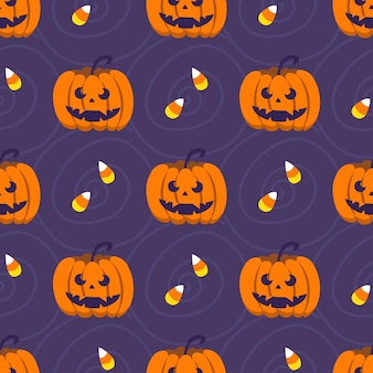 Halloween seamless pattern. cute pumpkins and sweets. vector illustration