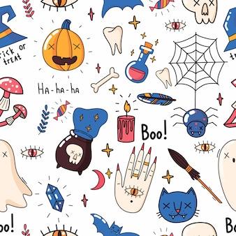 幽霊、頭蓋骨、カボチャ、猫とハロウィーンのシームレスなパターンデザイン。目とコウモリ。ベクトルイラスト。