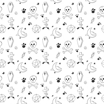Halloween seamless pattern in doodle and sketch style.