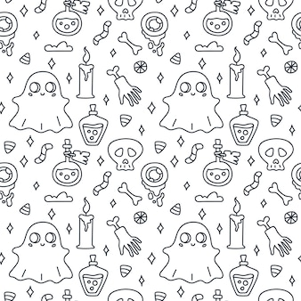 Halloween seamless pattern doodle vector illustration with potion hand ghost skull candle candy