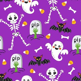 할로윈 완벽 한 패턴입니다. 해골, 박쥐, 유령, 뼈, 사탕, 삭제 표시가 있는 끝없는 배경. 보라색 배경에 그려진 만화 스타일의 밝은 삽화.