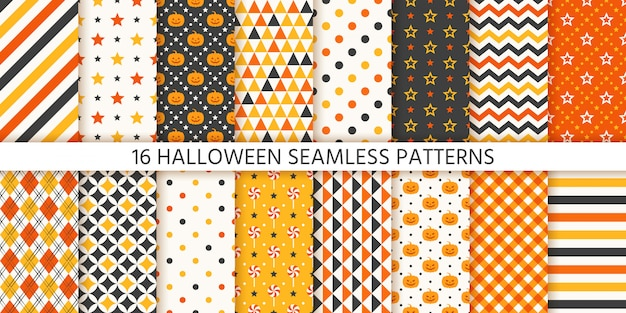 Halloween seamless pattern. geometric set