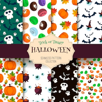 Halloween seamless pattern ghost scary set.