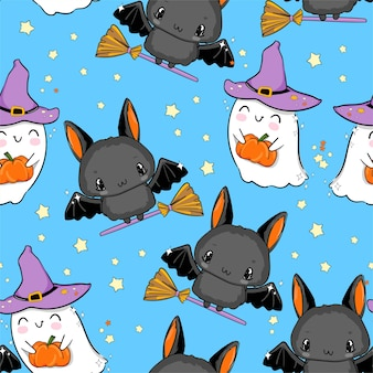 Halloween seamless pattern ghost with pumpkin and bat