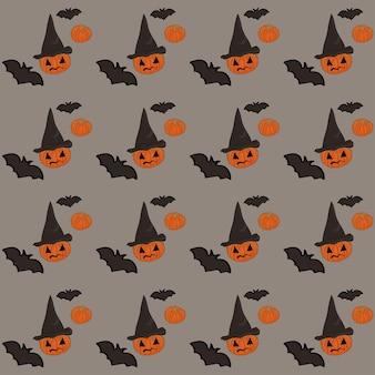 Halloween seamless pattern on gray background