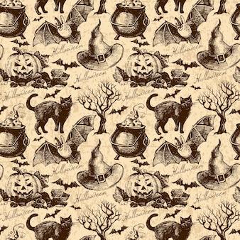 ハロウィーンのシームレスなパターン。手描きイラスト