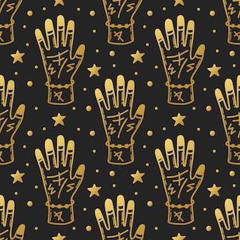 ハロウィーンのシームレスなパターン。ルーンの入れ墨をした手。魔法の要素。黄金のデザイン。