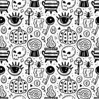 할로윈 완벽 한 패턴입니다. 휴일 검정 잉크 실루엣.