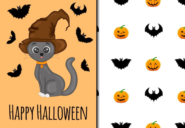 Halloween seamless pattern and holiday card. cartoon style. illustration.