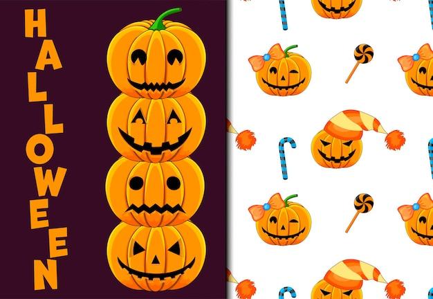 Halloween seamless pattern and holiday card. cartoon style. vector illustration.