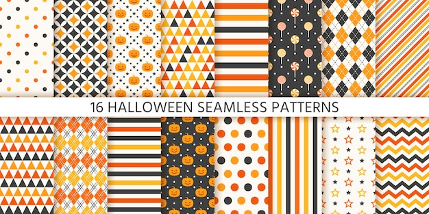 Halloween seamless pattern.   illustration. geometric wrapping paper.