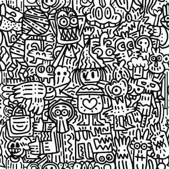 ハロウィーン。落書きと漫画スタイルの要素でシームレスなパターン。