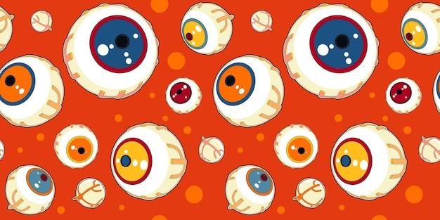 Halloween seamless pattern of monsters eyes.