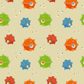 Halloween seamless pattern of one-eyed monsters