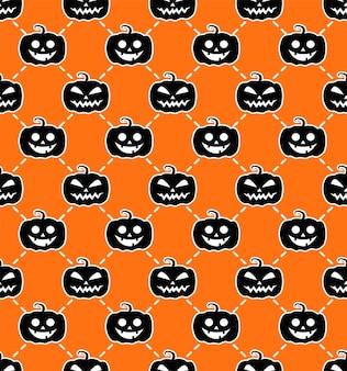ハロウィーンのシームレスなパターンオレンジ-黒の背景。枕、プリント、ファッション、衣類、生地、ギフト包装のデザイン。ベクター。