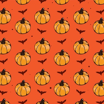 Halloween seamless pattern pumkins and bat