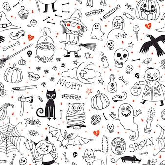 Halloween seamless pattern. pumpkin, ghosts, cats, skulls, bats and other symbols.