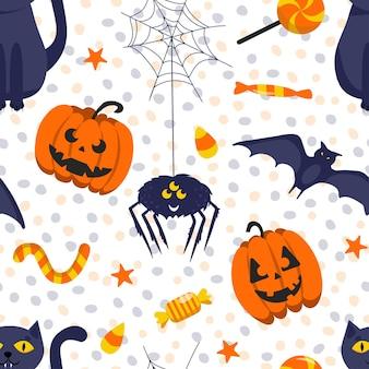 ハロウィーンのシームレスなパターン。カボチャ、クモ、猫。ベクトルイラスト