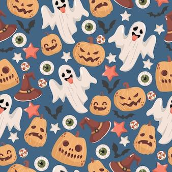 ハロウィーンのシームレスなパターン怖い幽霊魔女の帽子星コウモリキャンディー